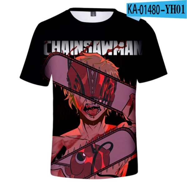 2021 Anime Chainsaw Man 3D Print T shirts Women Men Fashion Summer Short Sleeve T - Chainsaw Man Shop