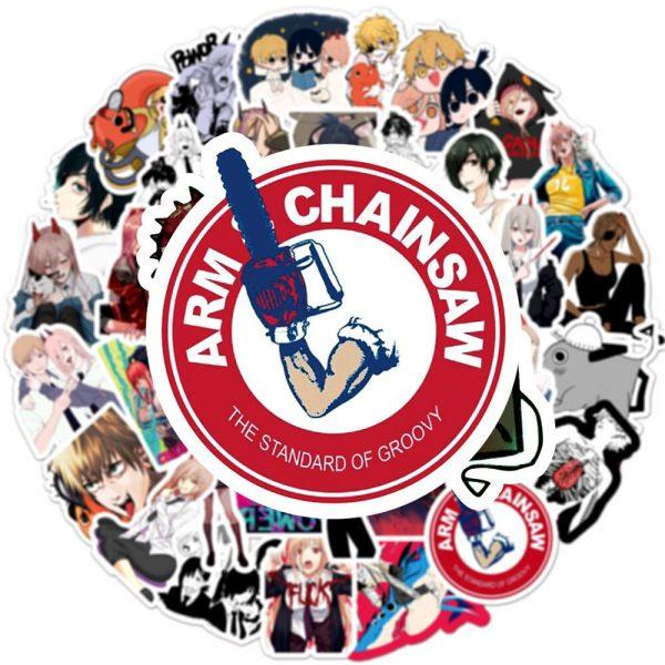 50pcs set Anime Chainsaw Man Sticker Cosplay Prop Cartoon Waterproof PVC Stickers 1 - Chainsaw Man Shop