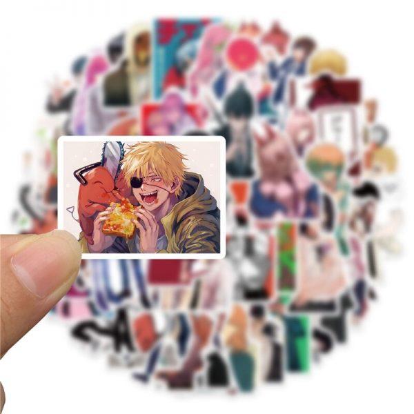 50pcs set Anime Chainsaw Man Sticker Cosplay Prop Pochita Cartoon Waterproof PVC Graffiti Card Stickers 1 - Chainsaw Man Shop