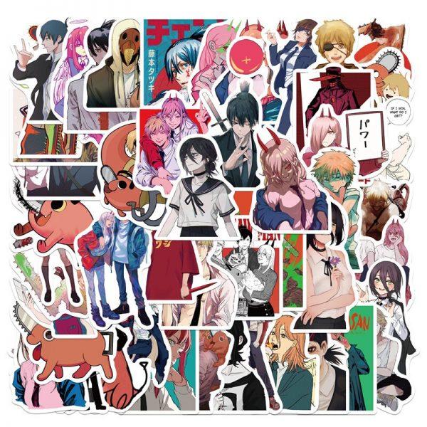 50pcs set Anime Chainsaw Man Sticker Cosplay Prop Pochita Cartoon Waterproof PVC Graffiti Card Stickers 2 - Chainsaw Man Shop