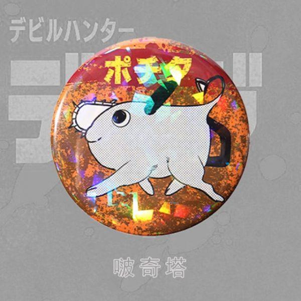 Anime Chainsaw Man Brooch Cosplay Prop Makima Pochita Accessories Reflective Badge - Chainsaw Man Shop