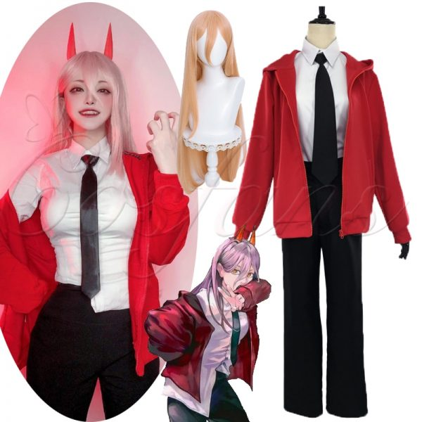 Anime Chainsaw Man Power Cosplay Costume wigs shoes uniform Outfits Red Jacket Hoodies Pants Devil Horn - Chainsaw Man Shop