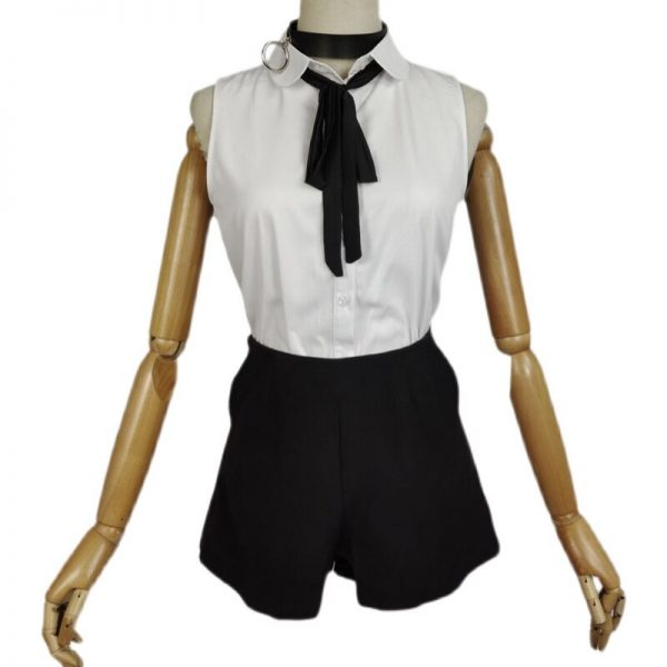 Anime Chainsaw Man Reze Cosplay Costume Adult Women Outfits Sexy Sleeveless Vest Pants Halloween Cosplay Wig 5 - Chainsaw Man Shop
