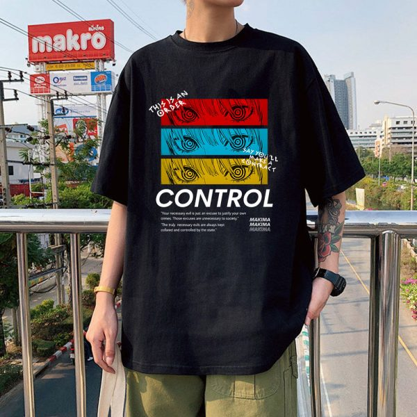 Chainsaw Man CONTROL T Shirt Men Graphic Print Tees Tops Men Women Oversized Short Sleeve T - Chainsaw Man Shop