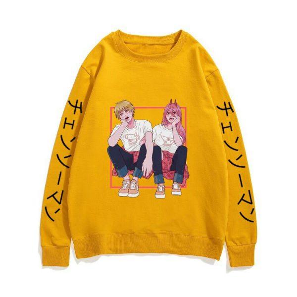 Couples Loose Streetwear Men Women Black Sweatshirt New Tracksuit Japan Manga Chainsaw Man Pullover Anime Ayanami 2 - Chainsaw Man Shop