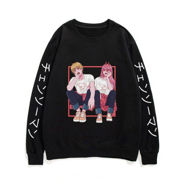 Couples Loose Streetwear Men Women Black Sweatshirt New Tracksuit Japan Manga Chainsaw Man Pullover Anime Ayanami - Chainsaw Man Shop