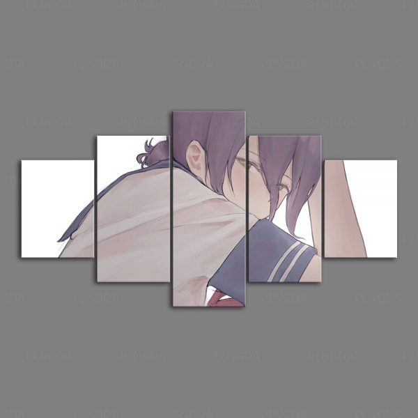 Home Decoration Chainsaw Man Canvas Japanese Prints Painting Anime Poster 5 Set Wall Art Modular Pictures - Chainsaw Man Shop
