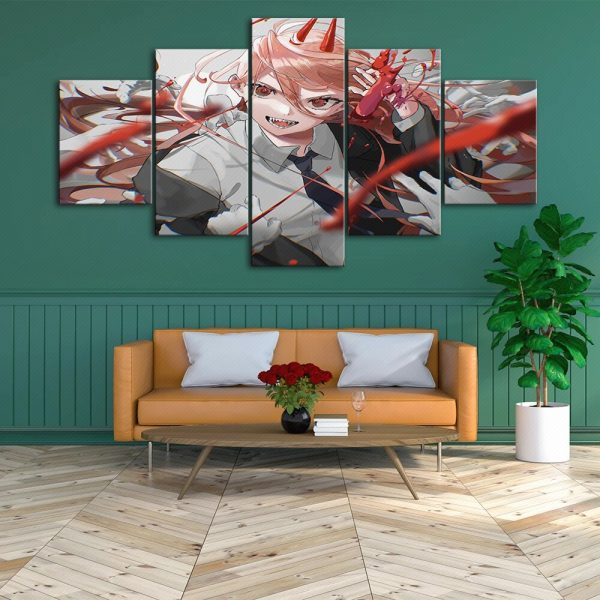 Japan Anime Home Decor Chainsaw Man Canvas Prints Painting Poster Wall Modern Art Modular Pictures For 3 - Chainsaw Man Shop