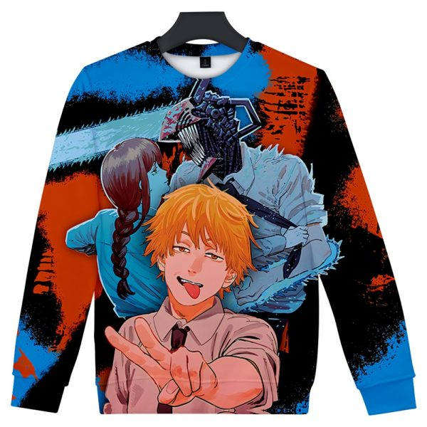 Manga Chainsaw man 3D Printed Sweatshirt Women Men Long Sleeve Sweatshirts Chainsawman Anime Autumn Winter Streetwear - Chainsaw Man Shop