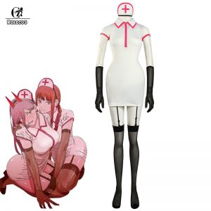 ROLECOS Chainsaw Man Makima Power Cosplay Costume Anime Nurse Uniform Outfit Halloween Cosplay Costume Carnival Clothing - Chainsaw Man Shop