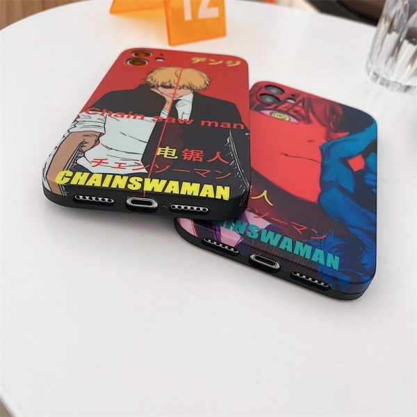 Luxury Chainsaw Man Silicone Phone Case For IPhone 12 11 Pro Max XS X XR 7 5 - Chainsaw Man Shop